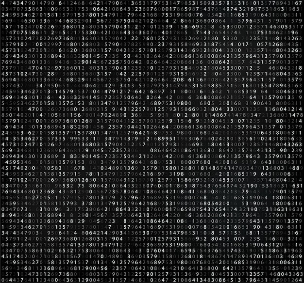 Matriz preta com dígitos, código de computador para criptografia e codificação