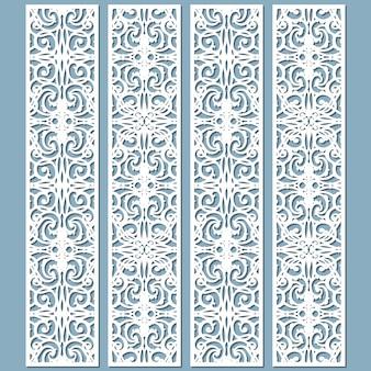 Matrizes e padrões de bordas de rendas decorativas cortadas a laser. conjunto de modelos de marcadores.