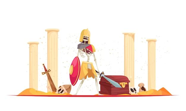 Mau guerreiro feroz no capacete, trazendo a morte de destruição com espada de escudo entre as ruínas dos desenhos animados composição