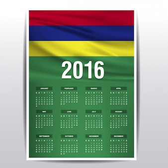Mauritius calendário de 2016