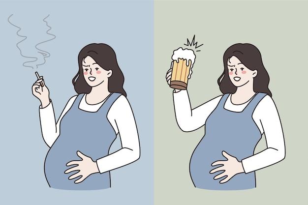 Maus hábitos durante o conceito de gravidez. jovem grávida em pé abraçando a barriga, fumando um cigarro e bebendo cerveja, vivendo uma vida pouco saudável.