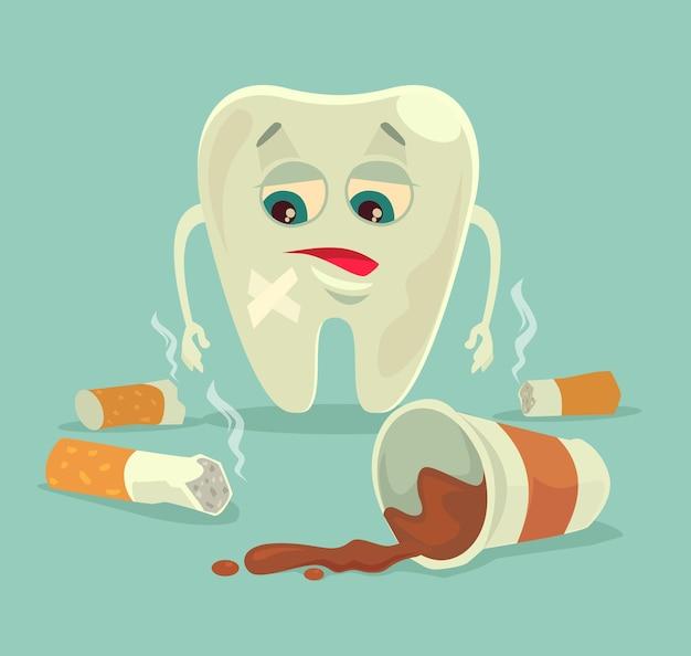 Maus hábitos. personagem de dente pouco saudável com café e cigarro.