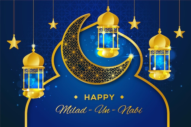 Mawlid milad-un-nabi cumprimentando com lanternas e lua
