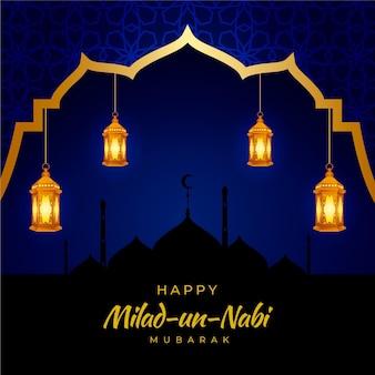 Mawlid milad-un-nabi cumprimentando com lanternas