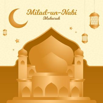 Mawlid milad-un-nabi cumprimentando com mesquita e lua