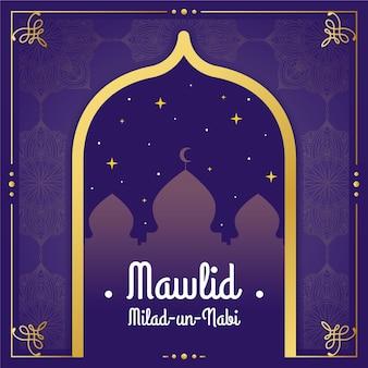 Mawlid milad-un-nabi cumprimentando com mesquita
