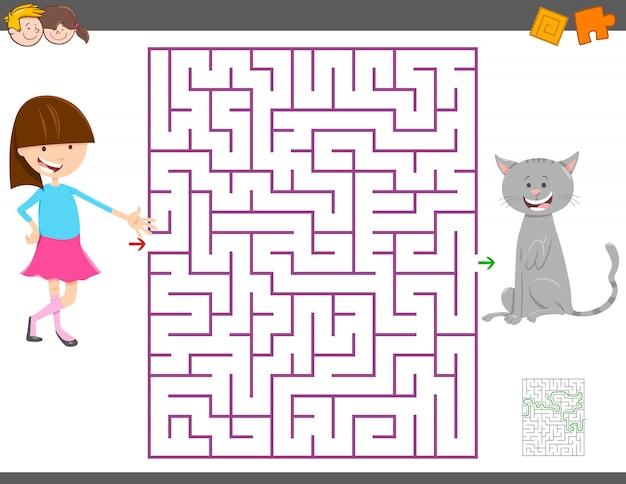 Maze activity game para crianças com menina e seu gato