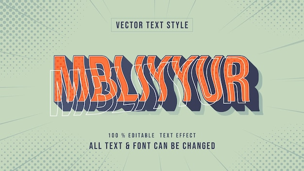 Mbliyur 3d vintage e efeito de estilo de texto retro estilo de texto ilustrador editável