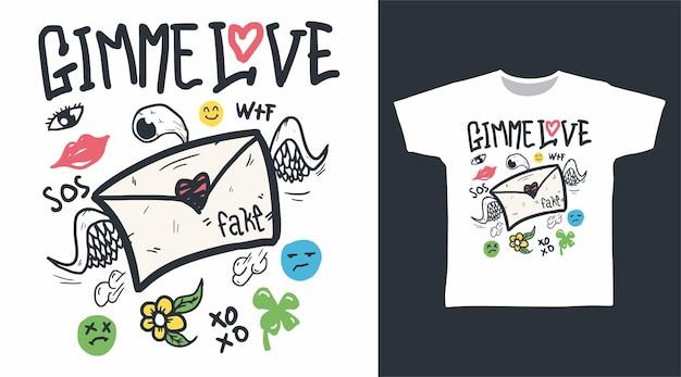 Me dê amor doodle com ornamento para desenho de camiseta