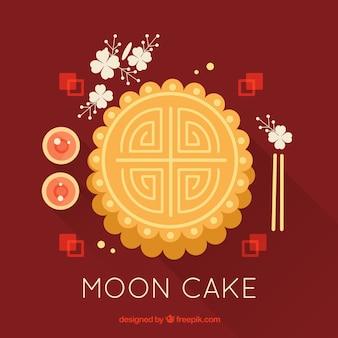 Meados de outono fundo com bolo de lua