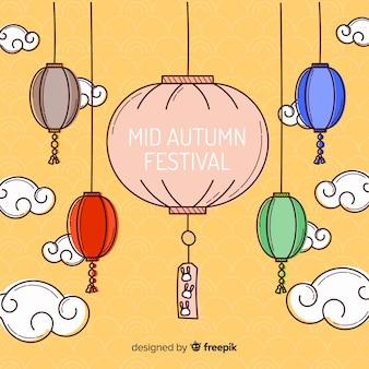 Meados outono festival fundo com lanterna colorida