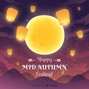 Meados outono festival fundo na mão desenhada estilo com grande lua