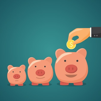 Mealheiro, conceito de aumento de dinheiro.