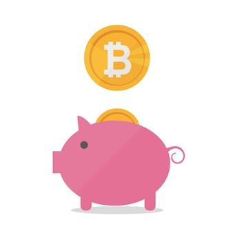 Mealheiro de porco com bitcoins caindo. conceito de bandeira de design plano de vetor em fundo branco isolado. segure bitcoins