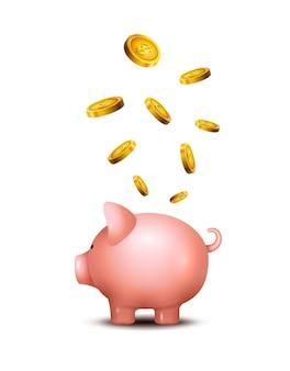 Mealheiro de porco. porquinho dinheiro salvar banco. brinquedo de porco para o conceito de caixa de economia de moedas. depósito de riqueza.