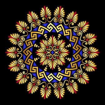 Meandro de ornamento grego de ouro vetor