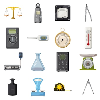 Measure precision tools icons set, estilo cartoon