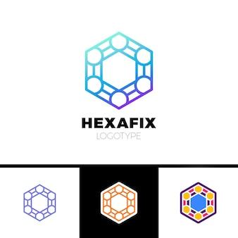 Mecânica gear fix hexagon abstract logo design