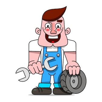 Mecânico com uma chave inglesa e uma roda do carro. ilustração vetorial.