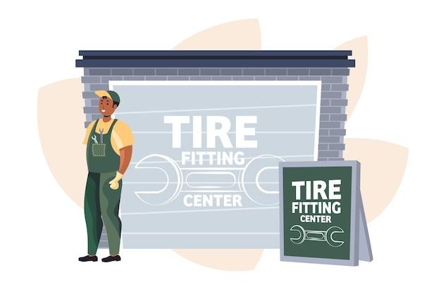 Mecânico de automóveis em uniforme trabalhando na estação de manutenção conceito de serviço de encaixe de pneus ilustração vetorial horizontal de comprimento total