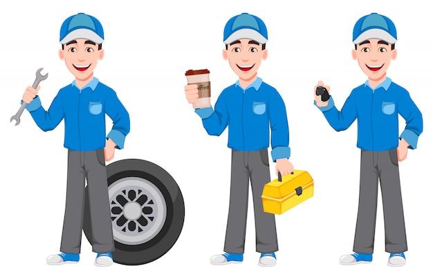 Mecânico de automóveis profissional de uniforme