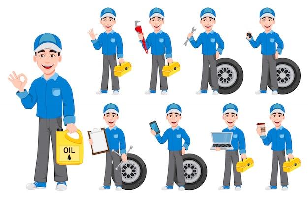 Mecânico de automóveis profissional em uniforme