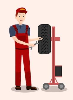 Mecânico de automóveis, verificação de pneu ilustração plana