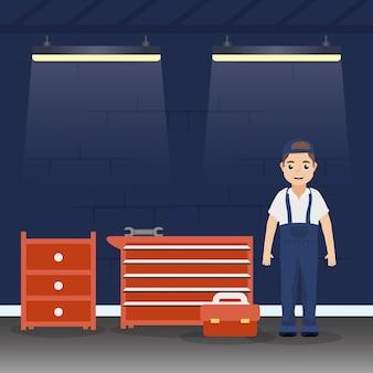 Mecânico de homem trabalhando na oficina mecânica