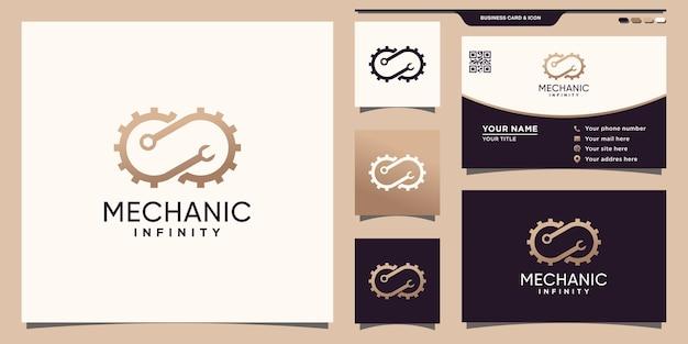 Mecânico de logotipo símbolo infinito com chave de engrenagem e design de cartão de visita premium vector