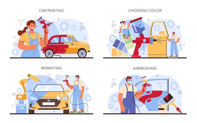 Mecânico de serviço de automóveis uniformizado pintar uma carroceria de veículo