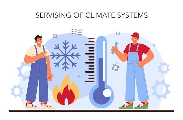 Mecânico de serviço de carro uniformizado verifica os sistemas de climatização do veículo