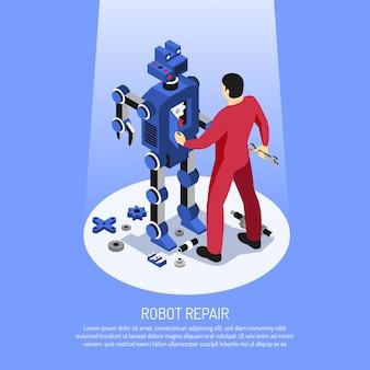 Mecânico de uniforme vermelho com ferramentas profissionais durante o reparo do robô em azul isométrico
