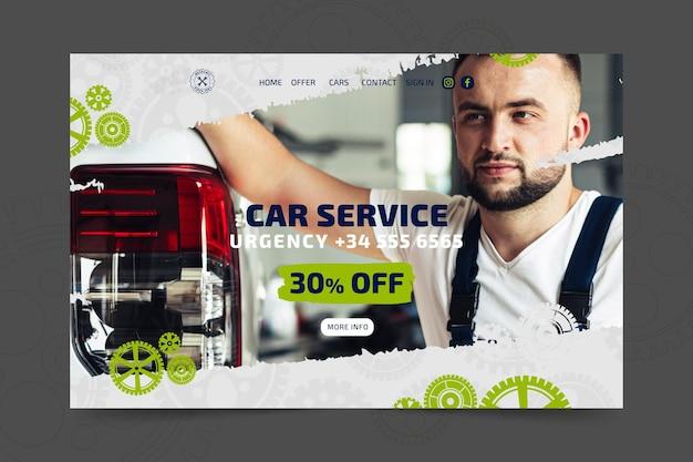 Mecânico e modelo de página de destino de serviço