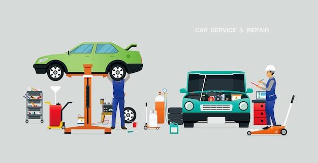 Mecânico inspecionando o motor na garagem com um fundo cinza