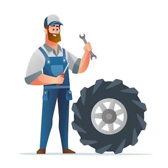 Mecânico profissional segurando uma chave de fenda e uma chave de fenda com uma ilustração de desenho de pneu grande