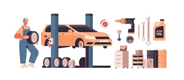Mecânico trabalhando e consertando veículo carro serviço conserto de automóveis e verificar conceito de estação de manutenção ilustração vetorial horizontal isolada