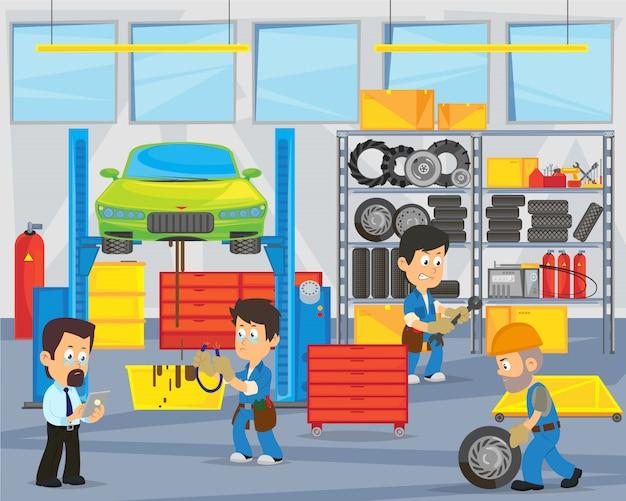 Mecânicos que reparam o carro na garagem. garagem interior.