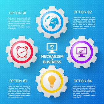 Mecanismo de infográfico de negócios com elementos coloridos e descrição das opções plana