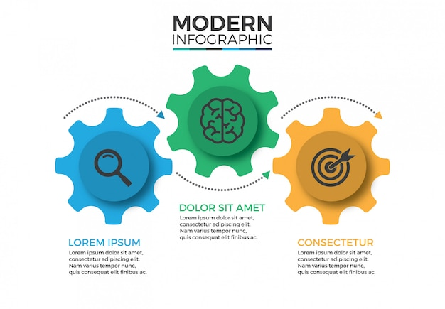 Mecanismo de negócios modelo de design infográfico com ícones e 3 opções ou etapas