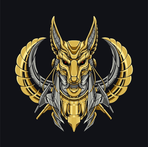 Mecha anubis dog mitologia cyberpunk ilustração design robô gold dog mitologia egípcia tecnologia moderna aço para roupas e design de capuzes Vetor Premium
