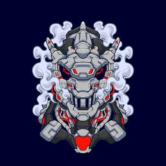 Mecha lizard cyberpunk iguana ilustração desenho de camisa de cabeça de lagarto com um tema de robô