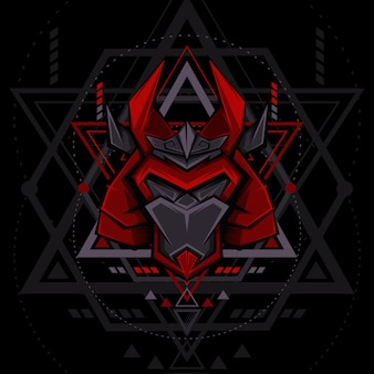 Mecha samurai mask geometry style