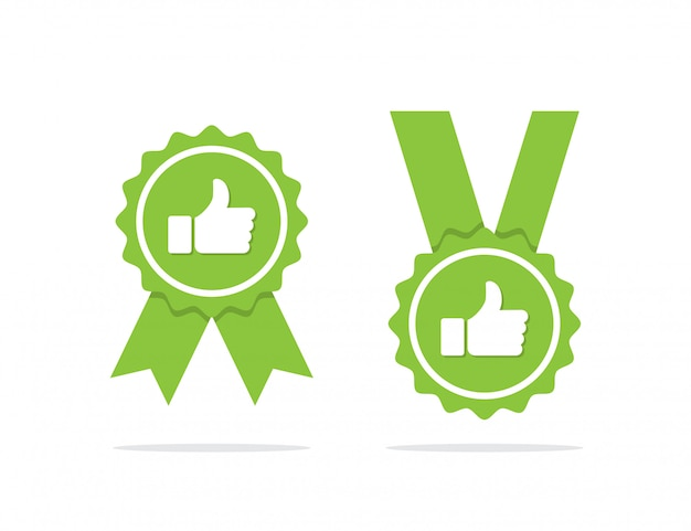 Medalha aprovada verde ou ícone de medalha certificada com sombra. ilustração vetorial
