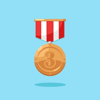 Medalha de bronze com fita para o terceiro lugar.