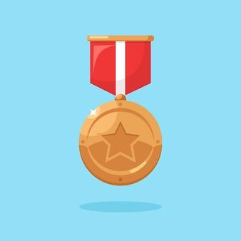 Medalha de bronze com fita vermelha, estrela pelo terceiro lugar.