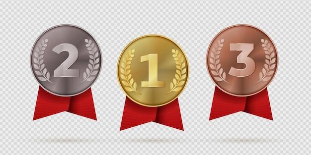 Medalha de campeão de ouro, prata e bronze com fita vermelha