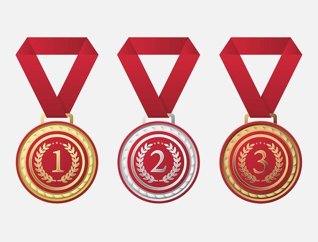 Medalha de campeonato com adição de vermelho na superfície de metal precioso