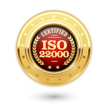 Medalha de certificação iso 22000 - gestão de segurança alimentar