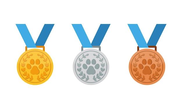 Medalha de moedas de ouro, prata e bronze com o ícone da pata ou impressão da pata e competição de animais