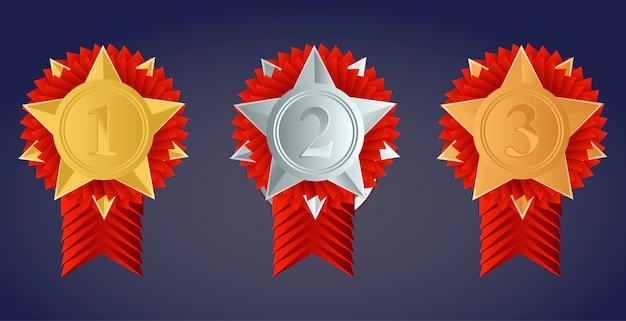 Medalha de ouro campeã, prata e bronze com fitas vermelhas
